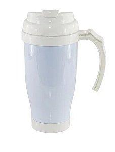 Copo Térmico de Plástico para Sublimação com Tampa Bico, Alça e Fundo Branco - 475ml