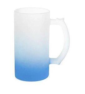Caneca de Chopp Lisa em Vidro Jateado Degrade Azul - 475ml
