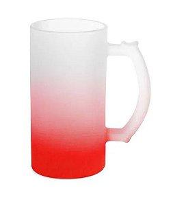 Caneca de Chopp Lisa em Vidro Jateado Degrade Vermelha - 475ml