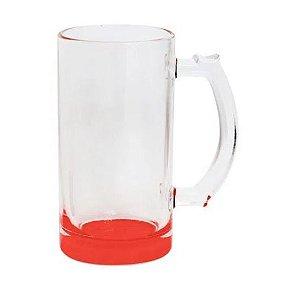 Caneca de Chopp Lisa em Vidro Cristal Degrade Vermelha - 475ml