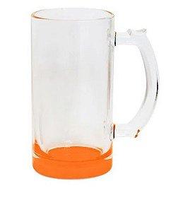 Caneca de Chopp Lisa em Vidro Cristal Degrade Laranja - 475ml