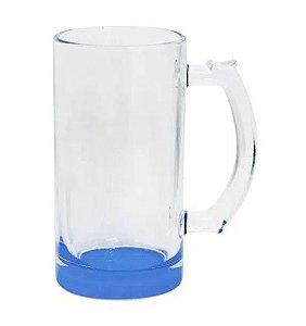 Caneca de Chopp Lisa em Vidro Cristal Degrade Azul - 475ml