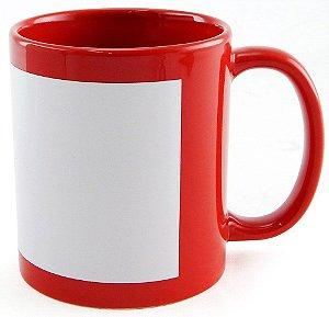 Caneca Vermelha Com Tarja Branca - 325 ml