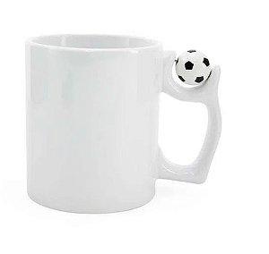 Caneca Branca com Alça de Bola de Futebol para Sublimação Marca Live