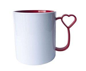 Caneca para Sublimação de Polimero Branco Alça Coraçãozinho Vermelha 120grs - 325ml