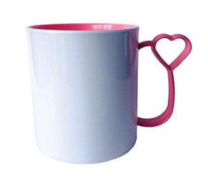 Caneca para Sublimação de Polimero Branco Alça Coraçãozinho Rosa 120grs - 325ml