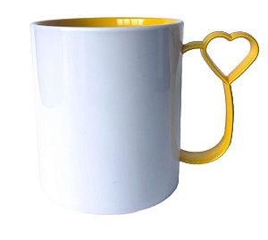 Caneca para Sublimação de Polimero Branco Alça Coraçãozinho Amarelo 120grs - 325ml