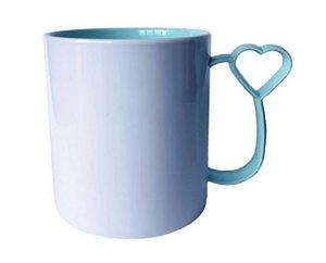 Caneca para Sublimação de Polimero Branco Alça Coraçãozinho Tiffany 120grs - 325ml