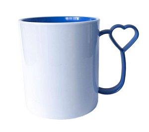 Caneca para Sublimação de Polimero Branco Alça Coraçãozinho Azul Royal 120grs - 325ml