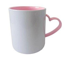 Caneca para Sublimação de Polimero Branco Alça Coração Rosa 120grs - 325ml