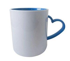 Caneca para Sublimação de Polimero Branco Alça Coração Azul Royal 120grs - 325ml