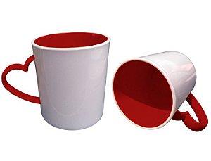 Caneca para Sublimação de Polimero Branco Alça Coração Vermelha 120grs - 325ml
