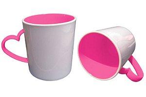 Caneca para Sublimação de Polimero Branco Alça Coração Pink 120grs - 325ml