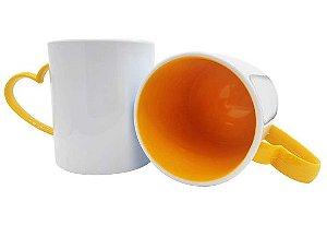 Caneca para Sublimação de Polimero Branco Alça Coração Amarelo 120grs - 325ml