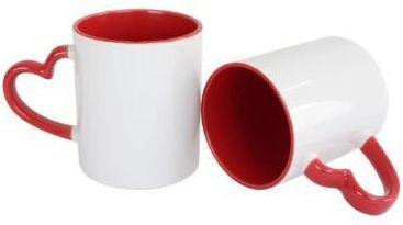 Caneca Love Branca para Sublimação com Alça e Interior Vermelho - 12 Unidades