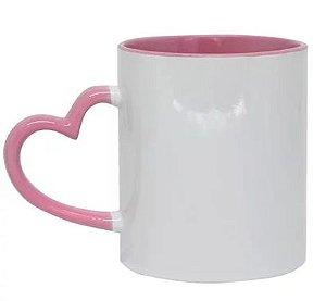 Caneca Love Branca para Sublimação com Alça e Interior Rosa - 12 Unidades