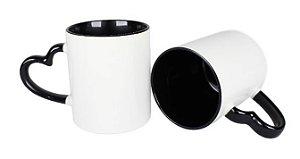 Caneca Love Branca para Sublimação com Alça e Interior Preto - 12 Unidades