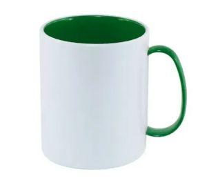caneca polimero branca com alça e interior Verde Escuro 325ml - 1un