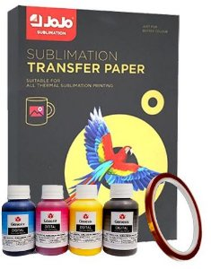 Kit Papel Sublimático Jojo +Tinta Sublimática Gênesis (4 cores) + Fita Térmica 5mm