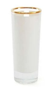 Copo de Tequila Longo em Vidro Cristal com Faixa Branca e Borda Dourada - 60ml