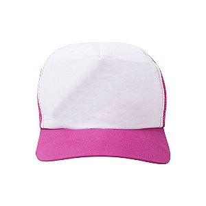 Boné Branco C/ Tela E Aba Colorido Mod. Americano 1un Rosa