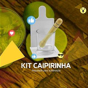 KIT CAIPIRINHA COM COPO VIDRO JATEADO P/ SUBLIMAÇÃO