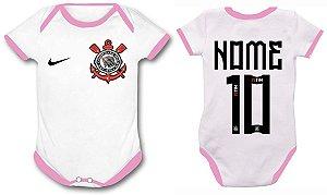 BODY SUBLIMÁTICO INFANTIL P - MANGA CURTA E DETALHE ROSA P/ SUBLIMAÇÃO