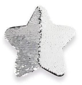 OBM - Aplique de Lantejoulas Estrela Prata e Branco - 19cm