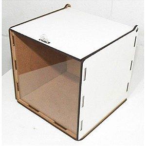 Caixa de montar em MDF de 3 mm recortado a Laser e resinado para receber a Sublimação, com frente em acrílico transparente na parte frontal da caixa