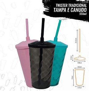 COPO TWISTER C/ TAMPA E CANUDO - 550ML
