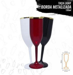 TAÇA COM BORDA METALIZADA DOURADA 190 ml
