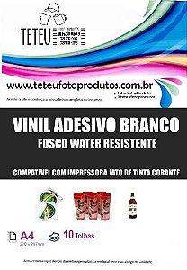 Vinil Adesivo Branco Fosco  Jato de Tinta A4 - 10 Folhas