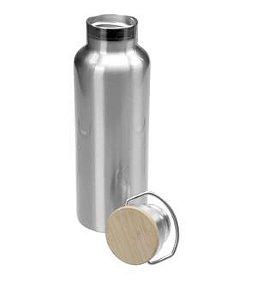 Garrafa Térmica Prata Aço Inox com Tampa de Bambu - 600ml
