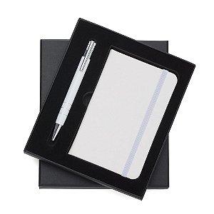 Conjunto Estojo e Caderneta tipo Moleskine Branca