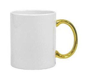 Caneca para Sublimação de Cerâmica alça Cromada Dourado
