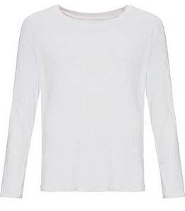 Camiseta Infantil Manga Longa com Proteção Solar UV (Poliester) - P/Sublimação - Branca Tamanho 8