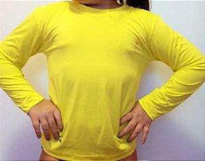 Camiseta Infantil Manga Longa com Proteção Solar UV (Poliester) - P/Sublimação - Amarelo Tamanho 10