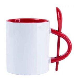 Caneca Reta para Sublimação de Cerâmica Branca com Alça, Interior e Colher Vermelha