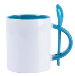 Caneca Reta para Sublimação de Cerâmica Branca com Alça, Interior e Colher Azul Claro