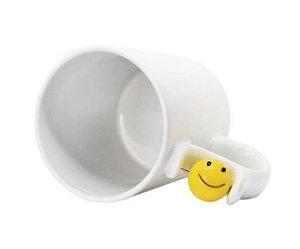 Caneca Branca com Alça Smile Face