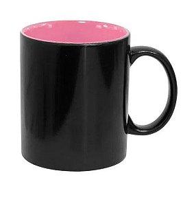 Caneca Mágica em Cerâmica para Sublimação Preta Semi Brilho com Interior Rosa Marca Live