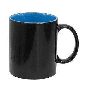 Caneca Mágica em Cerâmica para Sublimação Preta Semi Brilho com Interior Azul Marca Live