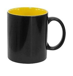 Caneca Mágica em Cerâmica para Sublimação Preta Semi Brilho com Interior Amarela Marca Live