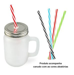 Caneca Mason Jar de Vidro Jateada - 430ml