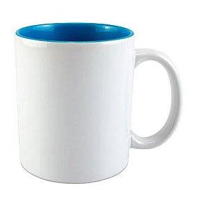 Caneca para Sublimação de cerâmica Branca com Interior Azul