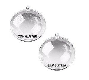 Bola Esfera de natal de Acrílico 6,5 Cm com Glitter Pct 10un
