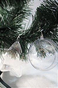 Bola de natal acrilica modelo estrela com Glitter - personalizavel. 7,0 cm Pct 10un