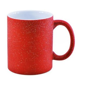Caneca Mágica em Cerâmica para Sublimação - Vermelha Glitter Colorido (Muda de Cor)
