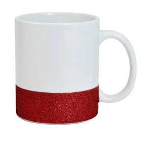 Caneca para Sublimação de Cerâmica Base Glitter Vermelha Importada Live