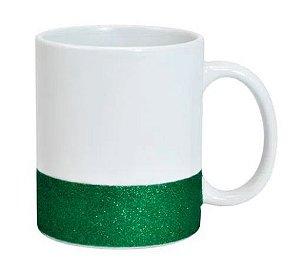 Caneca para Sublimação de Cerâmica Base Glitter Verde Importada Live